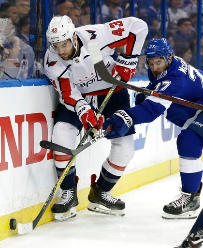 (AP Photo/Chris O'Meara). Washington Capitals right wing Tom Wilson (43) bbattles with Tampa Bay Lightning defenseman Ryan McDonagh (27) for the puck during the first period of Game 1 of an NHL Eastern Conference final hockey playoff series Friday, May...
