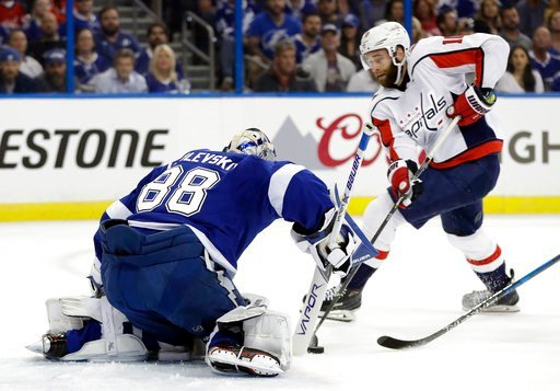 (AP Photo/Chris O'Meara). Tampa Bay Lightning goaltender Andrei Vasilevskiy (88) makes the save on a shot by Washington Capitals right wing Brett Connolly (10) during the first period of Game 1 of an NHL Eastern Conference final hockey playoff series F...