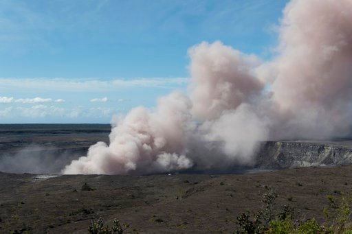 (U.S. Geological Survey via AP). In this Friday, May 11, 2018 photo released by the U.S. Geological Survey, an ash plume rises from the Overlook Vent in Halema'uma'u crater of the Kilauea volcano on the Big Island of Hawaii. Geologists warn that the vo...