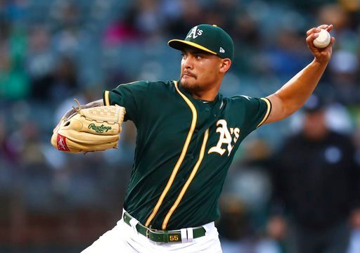 (AP Photo/Ben Margot). Oakland Athletics pitcher Sean Manaea works against the Houston Astros in the first inning of a baseball game Tuesday, May 8, 2018, in Oakland, Calif.