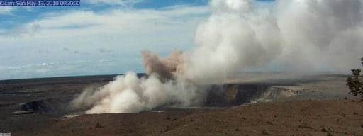 (U.S. Geological Survey via AP). This Sunday, May 13, 2018, image released by the U.S. Geological Survey, shows the Kilauea Caldera at 9:30 a.m. HST, taken with a research camera mounted in the observation tower at the Hawaiian Volcano Observatory in t...