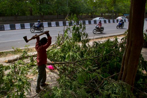 (AP Photo/Manish Swarup). A municipal worker cuts the branches of an uprooted tree to clear the pathway from Sunday's sudden storm in New Delhi, India, Monday, May 14, 2018. Powerful wind and rain storms have swept across northern India, with authoriti...