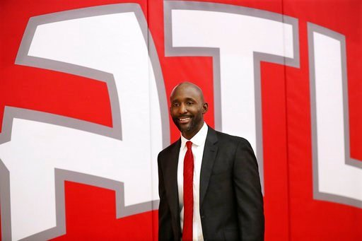 (Curtis Compton/Atlanta Journal-Constitution via AP). Lloyd Pierce arrives for a press conference introducing him as the Atlanta Hawks full-time coach on Monday, May 14, 2018, in Atlanta. Pierce joins the Hawks after spending the past five seasons as a...