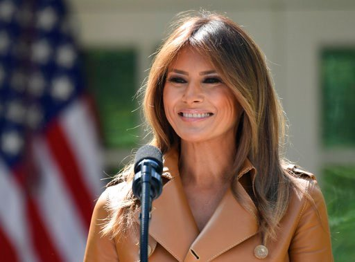 (AP Photo/Susan Walsh). In this May 7, 2018, photo, First lady Melania Trump speaks on her initiatives during an event in the Rose Garden of the White House in Washington.