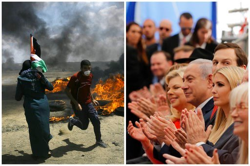 (AP Photo). In this photo combination, Palestinians protest near the border of Israel and the Gaza Strip, left, and on the same day dignitaries, from left, Sara Netanyahu, her husband Israeli Prime Minister Benjamin Netanyahu, Senior White House Adviso...