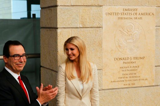 (AP Photo/Sebastian Scheiner). U.S. President Donald Trump's daughter Ivanka Trump, right, and U.S. Treasury Secretary Steve Mnuchin attend the opening ceremony of the new U.S. embassy in Jerusalem, Monday, May 14, 2018.