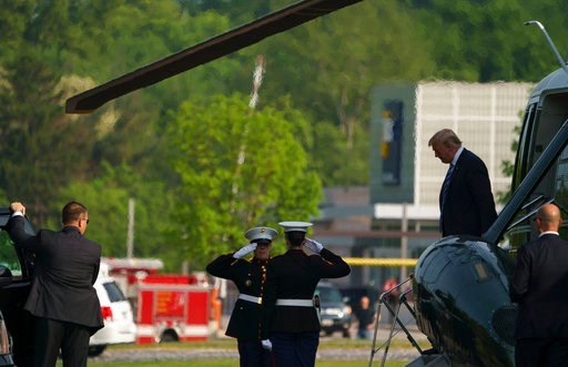 (AP Photo/Carolyn Kaster). President Donald Trump arrives on Marine One at Walter Reed National Military Medical Center in Bethesda, Md., Monday, May 14, 2018. The White House says Melania Trump is hospitalized after undergoing a procedure to treat a b...