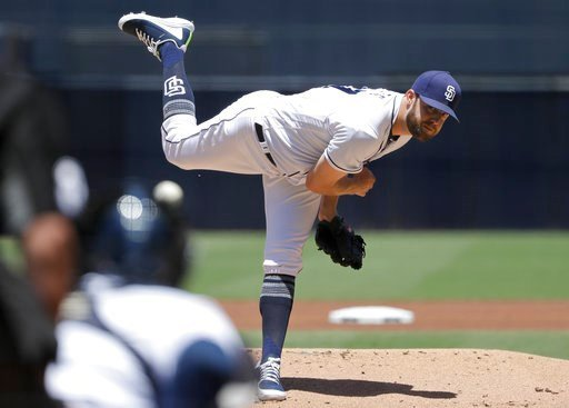 (AP Photo/Gregory Bull). San Diego Padres starting pitcher Jordan Lyles works against a Colorado Rockies batter during the first inning of a baseball game Tuesday, May 15, 2018, in San Diego.