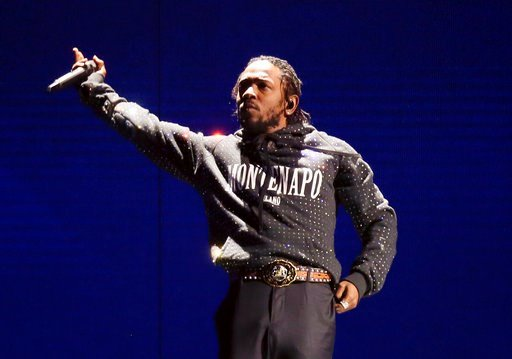 """(Photo by Joel C Ryan/Invision/AP, File). FILE - In this Feb. 21, 2018 file photo, Kendrick Lamar performs at the Brit Awards 2018 in London. Lamar was nominated for five BET Awards including ones for best collaboration, with Rihanna for """"Loyalty,"""" vid..."""