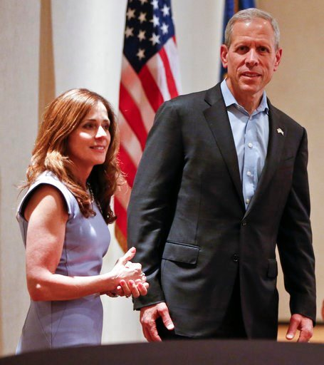 (AP Photo/Keith Srakocic). Paul Mango, right, Republican candidate for Pennsylvania Governor, attends a campaign rally with lieutenant governor candidate Diana Vaughn, in Canonsburg, Pa., Monday, May 14, 2018, a day before the Pennsylvania primary wher...