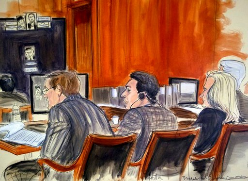(Elizabeth Williams via AP, File). In this Tuesday, Nov. 28, 2017, file courtroom sketch, defendant Mehmet Hakan Atilla, center, listens to proceedings from the defense table in New York. Defense lawyers say Atilla, a Turkish banker convicted of helpin...