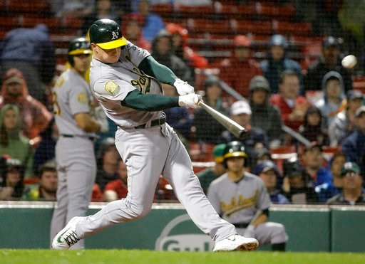 (AP Photo/Steven Senne). Oakland Athletics' Matt Chapman hits a two-run double off Boston Red Sox starting pitcher Eduardo Rodriguez during the first inning of a baseball game Tuesday, May 15, 2018, in Boston.