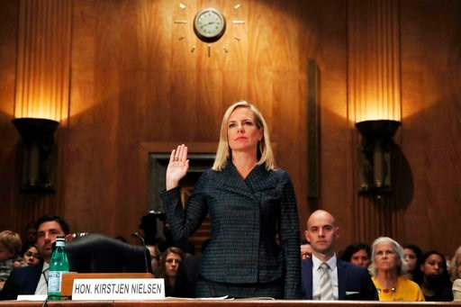 (AP Photo/Jacquelyn Martin). Homeland Security Secretary Kirstjen Nielsen is sworn in before testifying to the Senate Homeland Security Committee May 15 on Capitol Hill in Washington.