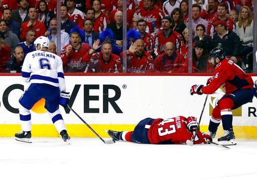 (AP Photo/Alex Brandon). Washington Capitals right wing Tom Wilson (43) lies on the ice after a hit by Tampa Bay Lightning defenseman Anton Stralman (6), from Sweden, during the first period of Game 3 of the NHL Eastern Conference finals hockey playoff...