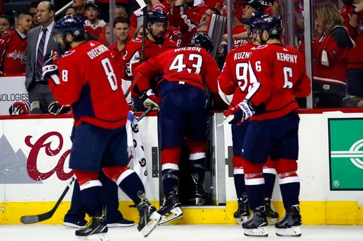 (AP Photo/Alex Brandon). Washington Capitals right wing Tom Wilson (43) leaves the ice after a hit by Tampa Bay Lightning defenseman Anton Stralman, from Sweden, during the first period of Game 3 of the NHL Eastern Conference finals hockey playoff seri...