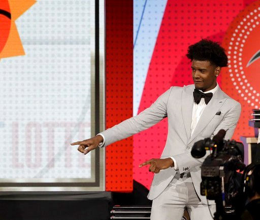 (AP Photo/Charles Rex Arbogast). Phoenix Suns forward Josh Jackson reacts after the team won the first pick of the 2018 NBA Draft during the NBA basketball draft lottery Tuesday, May 15, 2018, in Chicago.