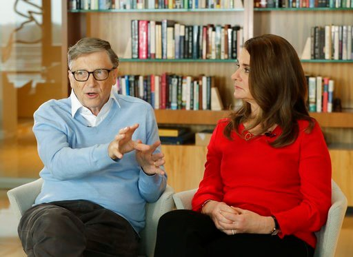 (AP Photo/Ted S. Warren, file). FILE - In this Feb. 1, 2018 file photo, Microsoft co-founder Bill Gates and his wife Melinda take part in an AP interview in Kirkland, Wash. Gates' non-profit Bill and Melinda Gates Foundation has given about $44 million...