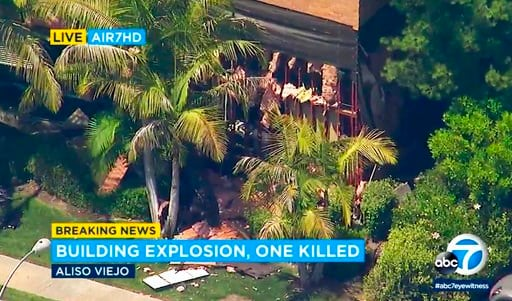 (KABC-TV via AP). This photo taken from video provided by KABC-TV shows a building after an explosion rocked it in Aliso Viejo, Calif., Tuesday afternoon, May 15, 2018.