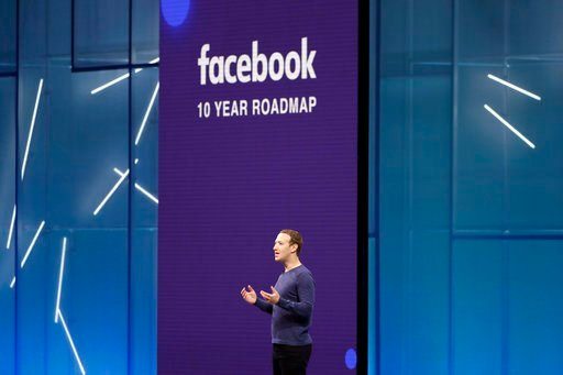 (AP Photo/Marcio Jose Sanchez, File). FILE- In this May 1, 2018, file photo, Facebook CEO Mark Zuckerberg makes the keynote speech at F8, Facebook's developer conference, in San Jose, Calif. Facebook is suspending about 200 apps that it believes may ha...
