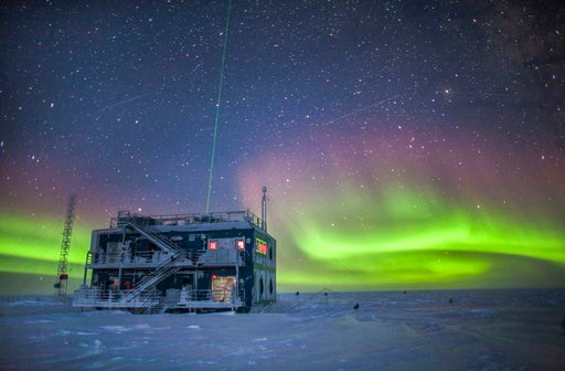 (Patrick Cullis/NOAA via AP). This undated photo provided by NOAA in May 2018 shows aurora australis near the South Pole Atmospheric Research Observatory in Antarctica. When a hole in the ozone formed over Antarctica, countries around the world in 1987...