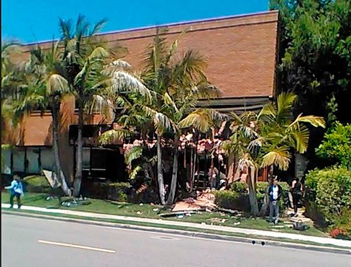 (Raul Hernandez via AP). This image taken from cellphone video shows a building after a fatal explosion in Aliso Viejo, Calif., Tuesday, May 15, 2018. The cause of the blast is being investigated.