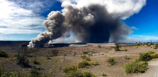 (U.S. Geological Survey via AP). This photo from the U.S. Geological Survey shows activity at Halema'uma'u Crater that has increased to include the nearly continuous emission of ash with intermittent stronger pulses at Hawaii Volcanoes National Park on...