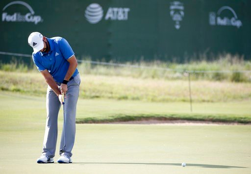 (Vernon Bryant/The Dallas Morning News via AP). Sergio Garcia, of Spain, putts on the 16th green during the pro-am at the AT&T Byron Nelson golf tournament at Trinity Forest Golf Club in Dallas, Wednesday, May 16, 2018.