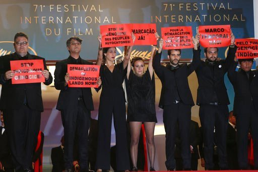 (Photo by Joel C Ryan/Invision/AP). Cast and crew from the film 'The Dead and The Other' Thiago Macedo Correia, from left, producer Ricardo Alves Jr., producer Isabella Nader, co-director Renee Nader Messora, co-director Joao Salaviza and actor Ihjac K...