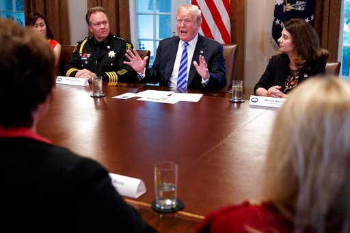 (AP Photo/Evan Vucci). President Donald Trump speaks during a roundtable on immigration policy in California in the Cabinet Room of the White House, Wednesday, May 16, 2018, in Washington.