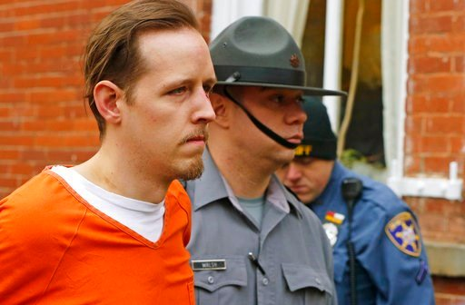 (AP Photo/Rich Schultz, File). FILE – In this Oct. 31, 2014, file photo, Eric Frein, left, is escorted out by police after his arraignment at the Pike County Courthouse in Milford, Pa. Lawyers for Frein, on death row for fatally shooting Pennsylvania S...