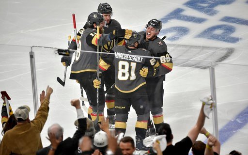 (AP Photo/David Becker). Vegas Golden Knights center Jonathan Marchessault (81) celebrates with teammates after scoring during the first period of Game 3 of the NHL Western Conference finals hockey playoffs series against the Winnipeg Jets on Wednesday...