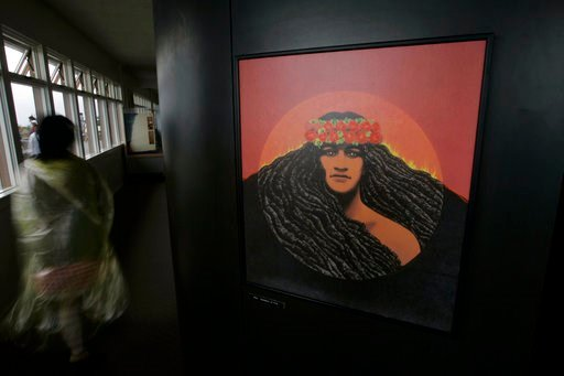 (AP Photo/Chris Stewart, File). FILE - In this Sept. 10, 2009 file photo, a portrait of volcano deity Pele by famed Hawaiian artist Herb Kawainui Kane is on display at the Jagger Museum and Hawaiian Volcano Observatory in Hawai'i Volcanoes National Par...