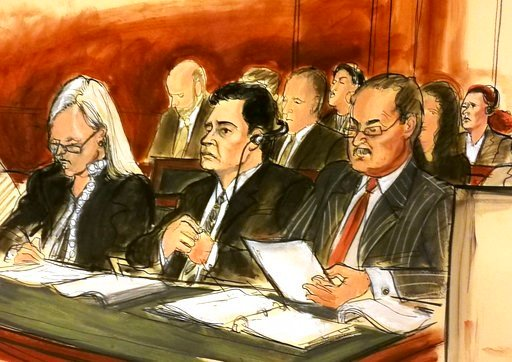 (Elizabeth Williams via AP). In this courtroom sketch Mehmet Hakan Atilla, second from left, listens to the judge during his sentencing, flanked by his attorneys Cathy Fleming, left, and Victor Rocco as Atilla's wife, upper right, listens to the procee...