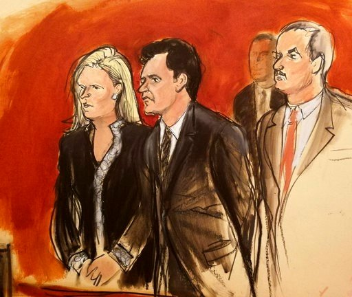 (Elizabeth Williams via AP). In this courtroom sketch Mehmet Hakan Atilla, second from left, listens to the judge during his sentencing, flanked by his attorneys Cathy Fleming, left, and Victor Rocco Wednesday, May 16, 2018, in New York. U.S. District ...