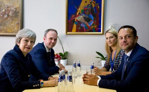 (AP Photo/ Virginia Mayo). Irish Prime Minister Leo Varadkar, right, meets with British Prime Minister Theresa May, left, on the sidelines of an EU and Western Balkan heads of state summit at the National Palace of Culture in Sofia, Bulgaria, Thursday,...