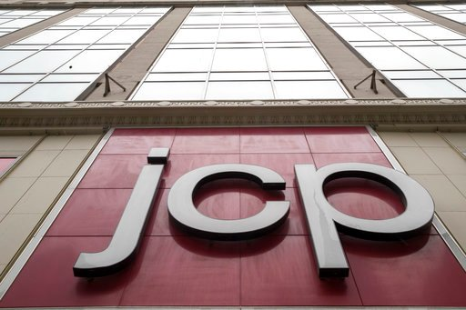 (AP Photo/Mary Altaffer). In this Wednesday, May 16, 2018, photo, the JC Penney logo is seen hanging outside the Manhattan mall in New York.  J.C. Penney Co. reports earnings on Thursday, May 17.