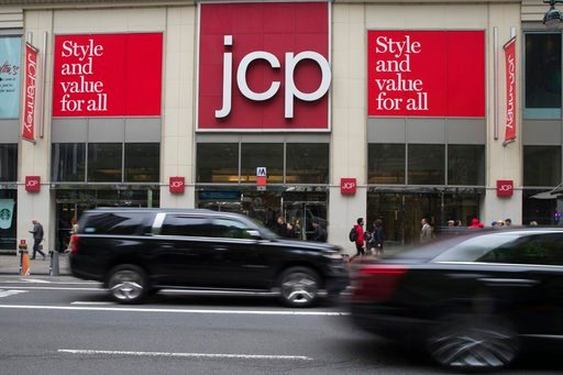 (AP Photo/Mary Altaffer). In this Wednesday, May 16, 2018, photo, traffic makes it's past the JC Penney logo hanging outside the Manhattan mall in New York.