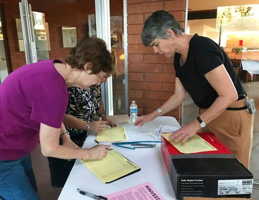 (AP Photo/Melissa Daniels). Melanie Beikman, right, Thousands of teachers in Arizona, gathers signatures Thursday, May 10, 2018 in Phoenix for a ballot initiate to raise the income tax on wealthy earners to fund public education Oklahoma and West Virgi...