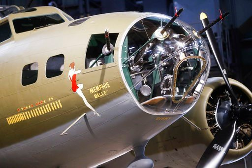 """(AP Photo/John Minchillo). The Memphis Belle, a Boeing B-17 """"Flying Fortress,"""" is displayed for private viewing at the National Museum of the U.S. Air Force, Wednesday, May 16, 2018, in Dayton, Ohio. The World War II bomber Memphis Belle is set to go o..."""