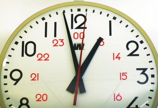 (AP Photo/Patrick Sison). FILE - This Tuesday, June 30, 2015 file photo shows a wall clock in New York. Plugged-in clocks may be losing or gaining as much as seven and a half minutes between May and November 2018 because of U.S. government energy dereg...