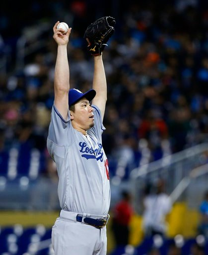 (AP Photo/Wilfredo Lee). Los Angeles Dodgers' Kenta Maeda, of Japan, prepares to pitch during the first inning of a baseball game against the Miami Marlins, Thursday, May 17, 2018, in Miami.