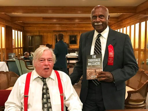 "(James Loiselle/Courtesy of John DeSantis via AP, File). FILE - In this Nov. 13, 2016, file photo, provided by John DeSantis, author of ""The Thibodaux Massacre: Racial Violence and the 1887 Sugar Cane Labor Strike"" poses with Sylvester Jackson, right, ..."