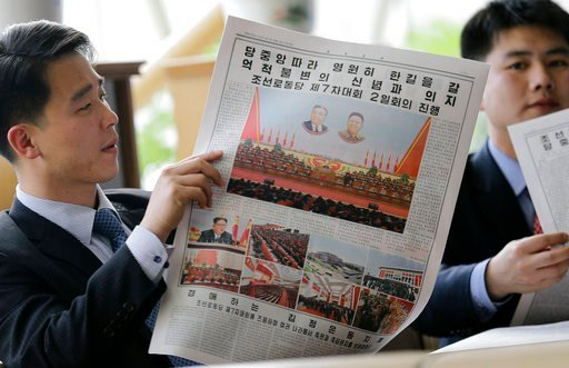 (AP Photo/Kim Kwang Hyon, File). FILE - In this May 8, 2016, file photo, North Koreans read their leader Kim Jong Un's speech published in the local newspaper in Pyongyang, North Korea. Donald Trump and Kim Jong Un have one big thing in common as they ...