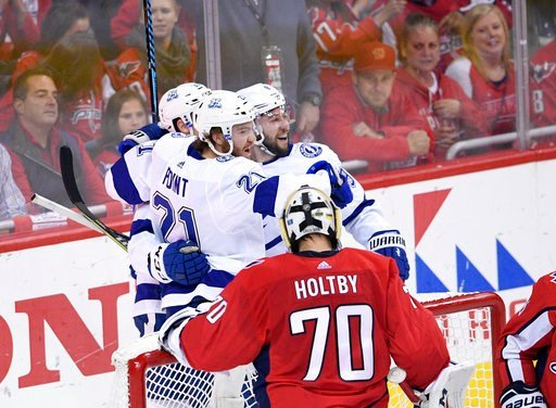 (AP Photo/Nick Wass). Tampa Bay Lightning center Brayden Point (21) celebrates his goal with center Tyler Johnson (9) next to Washington Capitals goaltender Braden Holtby (70) during the first period of Game 4 of the NHL hockey Eastern Conference final...