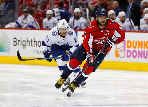 (AP Photo/Pablo Martinez Monsivais). Washington Capitals left wing Alex Ovechkin (8), skates past Tampa Bay Lightning center Brayden Point (21) during the second period of Game 4 of the NHL Eastern Conference finals hockey playoff series Thursday, May ...