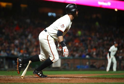 (AP Photo/Ben Margot). San Francisco Giants' Brandon Belt watches his two-run home run off Colorado Rockies pitcher Chad Bettis during the sixth inning of a baseball game Thursday, May 17, 2018, in San Francisco.