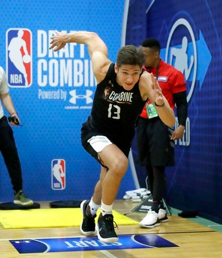 (AP Photo/Charles Rex Arbogast). Grayson Allen, from Duke, participates in the NBA draft basketball combine Thursday, May 17, 2018, in Chicago.