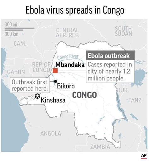 Maps locates Mbandaka, Congo, where an ebola virus outbreak has been reported in the city of 1.2 million people; 2c x 3 1/2 inches; 96.3 mm x 88 mm;