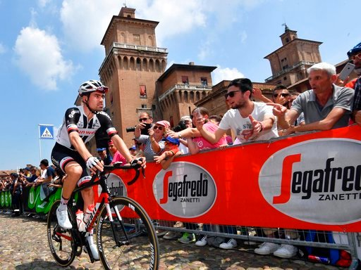 (Daniel Dal Zennaro/ANSA via AP). Netherlands' Tom Domoulin prepares to start the 13th stage of the Giro d'Italia cycling race from Ferrara to Nervesa della Battaglia, Italy, Friday, May 18, 2018.