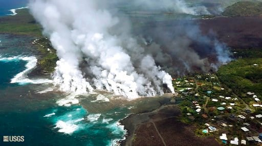 (U.S. Geological Survey via AP). This image taken from video on Monday, June 4, 2018, and provided by the U.S. Geological Survey shows lava from a fissure flowing into the ocean at Kapoho Bay at Kapoho on the island of Hawaii. After overrunning the tow...